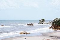 宿から見える景色。海岸が目の 前にあり、とってもロマンチック!