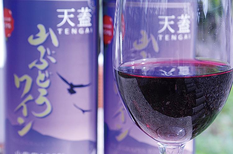 村上市高根地区で生産された山ぶどうを原料とするオリジナルワイン。数量限定の人気商品