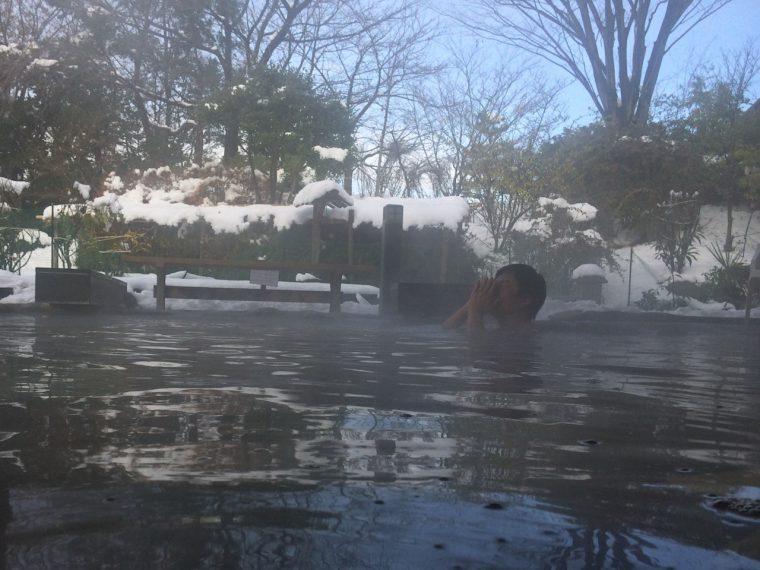 屋根付きなので雨や雪に濡れることなく温泉に浸かることができる