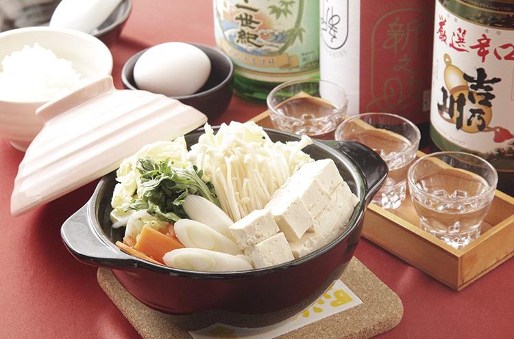 ボリュームたっぷりの『一人鍋』(単品680円、セット950 円)。シメはセットのご飯と卵で雑炊に