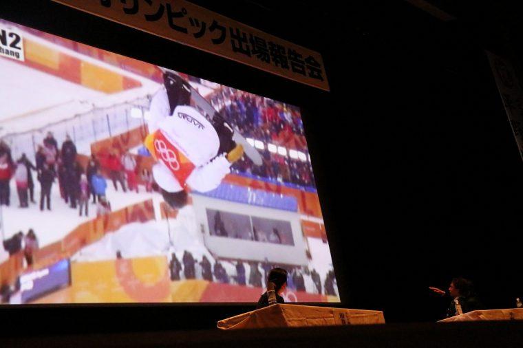 オリンピックの映像を、会場のみんなで再度観戦