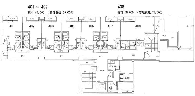 4〜6階のフロア図です