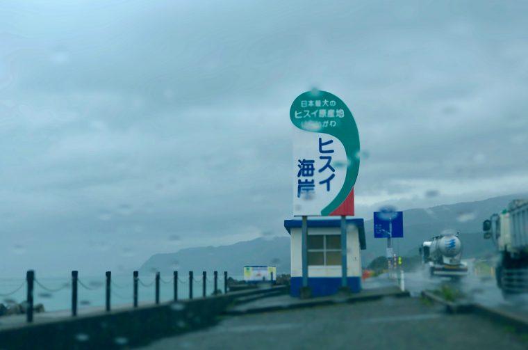 国道沿いに建つ『ヒスイ海岸』の看板(雨天時の写真でスミマセン…)。親不知ピアパークは、ここから高速道路で1インターぶんくらい富山県寄り。でっかいウミガメの像が鎮座しています。