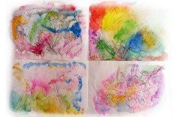 自由な発想で描かれた子どもたちの絵画展。アロマクラフト講座もあります