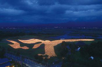 15,000本のロウソクで巨大な鳥のアートを制作。メインイベントの「雁迎灯(かんげいび)」は必見!