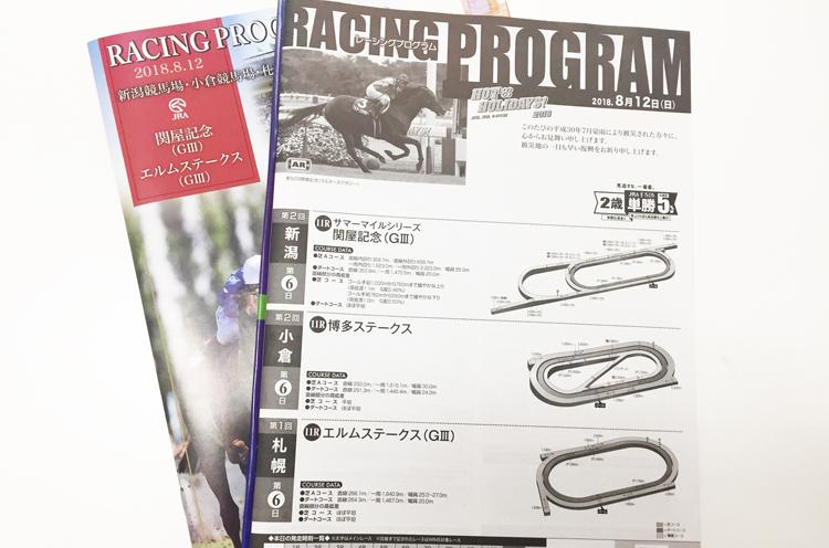 これがレーシングプログラム。ちなみにこれは8月12日(日)のレープロ