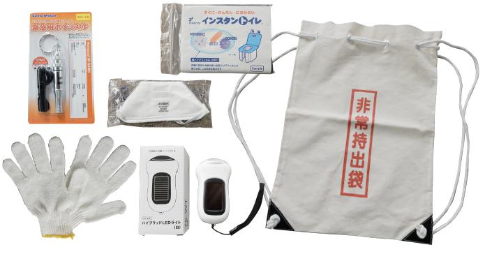 非常用持ち出し袋の内容例 ※内容は変更になる場合がございます ※写真はイメージです