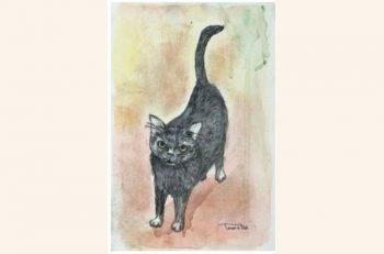 ネコ好きにはたまらない展覧会です。ネコちゃんの絵がたくさん並びます!