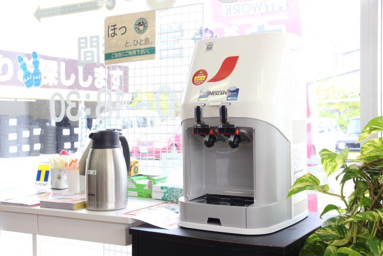 ↑無料コーヒーコーナーがあるのでタイヤ交換中もゆったり