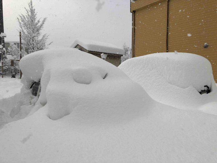 """↑編集部駐車場、2018年1月のとある朝。雪の下には社用車。見た瞬間""""今日は終わったな""""と思いました。。。"""