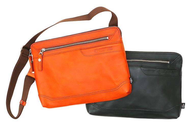 DOUBLES ITALY 『2WAY ショルダーバッグ』 ショルダーストラップは取り外し可能なので、クラッチバッグとしても利用できる。フロントには小物の収容に便利なポケット付き 各19,440円