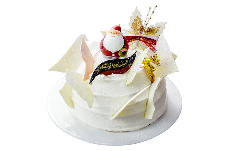 『白いクリスマス(レアチーズ)』(5号・直径15cm)5,400円。新潟の雪山をイメージしたオリジナルクリスマスケーキ。雪のようにふわふわでなめならかな生クリームとなかのレアチーズが好相性。パイナップルの爽やかな酸味がアクセント