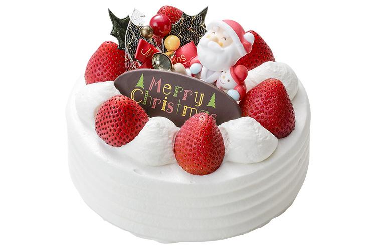 『クリスマスケーキ』(5号・直径15cm)4,200円。ひとつひとつ丁寧に仕上げたホテル日航新潟のオリジナルクリスマスケーキ。しっとりと柔らかいスポンジにイチゴをサンド。上品な甘さのクリームをたっぷりと使用している