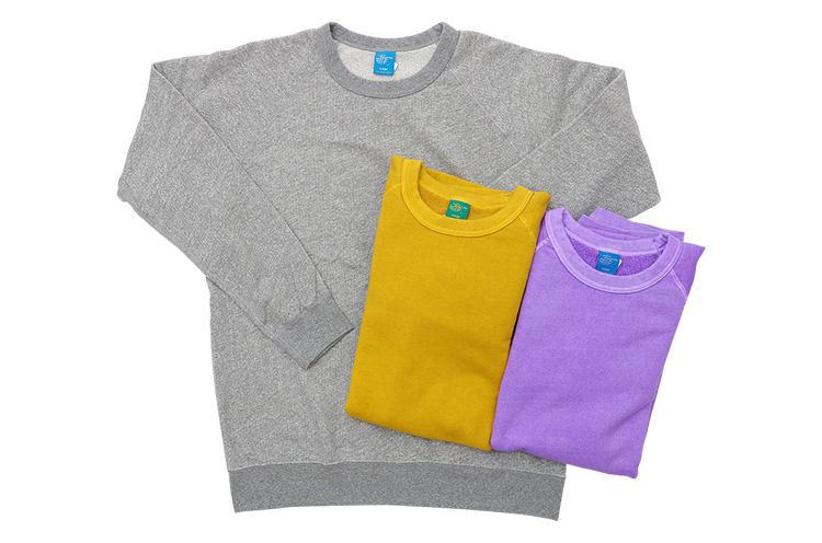 GOOD ON 『ラグランクルー スウェットシャツ』 着ていくほど、徐々に体に合ったサイズ感に。袖を通すたびにクオリティの高さを実感できる逸品。カラーバリエーションも豊富 各9,180円