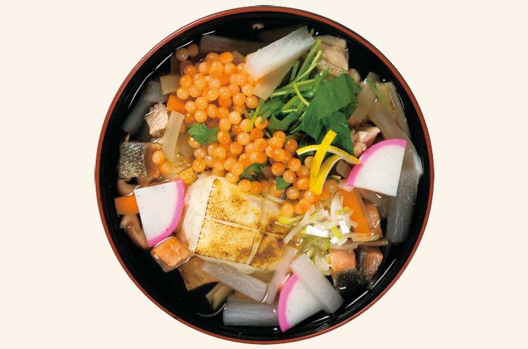 具だくさん雑煮「新発田雑煮」。イクラがたっぷり入っています!