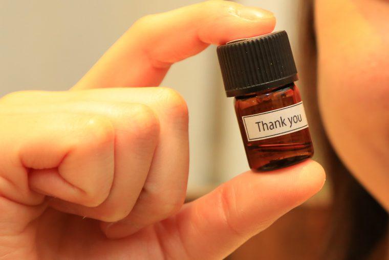 有機精油のみをブレンドしたhana*kikuオリジナルのルームフレグランス『Thank you』。リセットしたいときにおすすめの香りだそうです