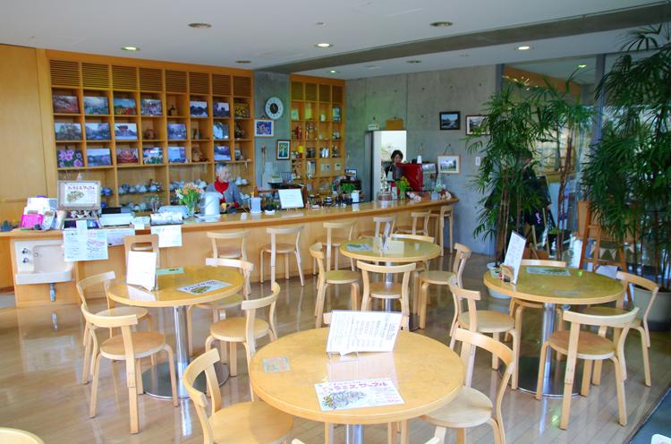 豊栄図書館の入口の左手側。店内にはグリーンが配置され、落ち着く空間