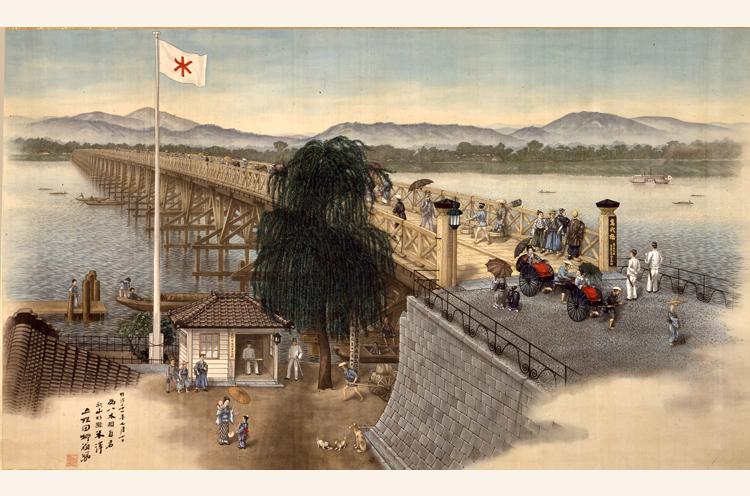 五姓田芳柳「新潟萬代橋図」(新潟市指定文化財)