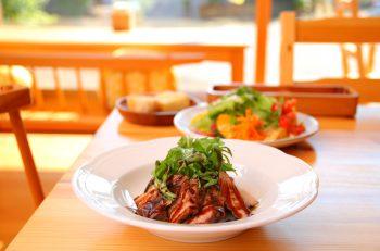 凛々しい弥彦山を見ながらイタリア料理