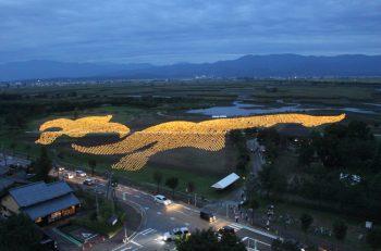 1万本のロウソクで描く巨大アート・雁迎灯(かんげいび)に感動