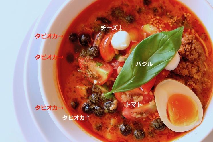 真俯瞰解説写真『冷麻辣烏龍珍珠奶茶担々麺 〜−196°Cに震えて待て〜 』(980円)