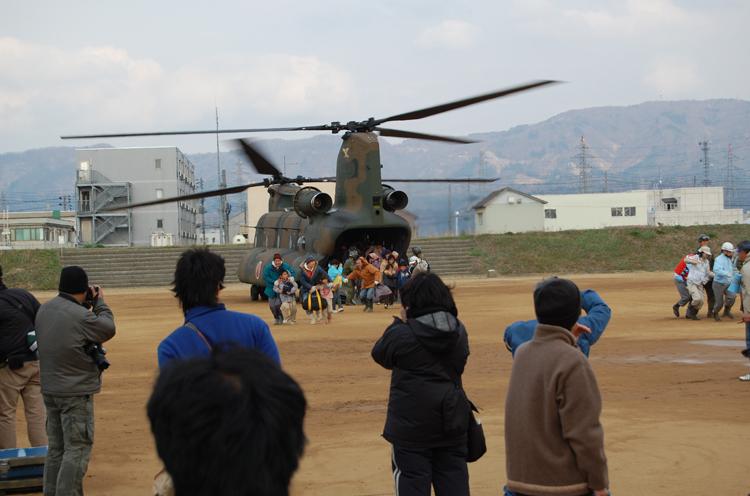 石川家の家族が自衛隊のヘリコプターで救出されたシーン