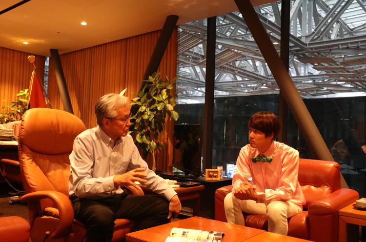 アルビレックスBBへの思いを熱く語る磯田市長