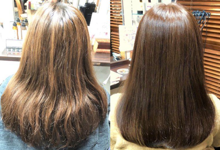 髪のうねりやボリュームを抑えつつ、真っ直ぐなストレートヘアに!クリニックカットはハサミだけで髪のコンプレックスを解消できる技術なのです