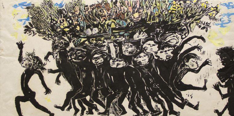 式場庶謳子《子どものうた 春の使い》1978年 新潟市新津美術館蔵