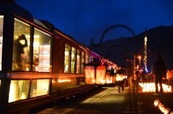 【阿賀町】奥阿賀を走るSLをキャンドルの明かりと花火でお出迎え