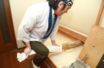珍しい「竹打ち麺」を湯田上で