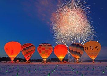【小千谷】一揆が勃発!? カラフルな熱気球が冬の空を舞う