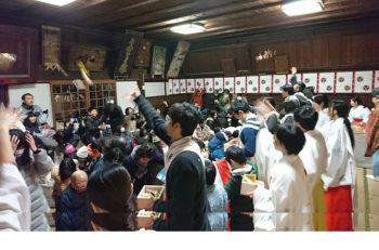 上古町商店街のお寺と神社で節分会。お菓子まきもあるよ!