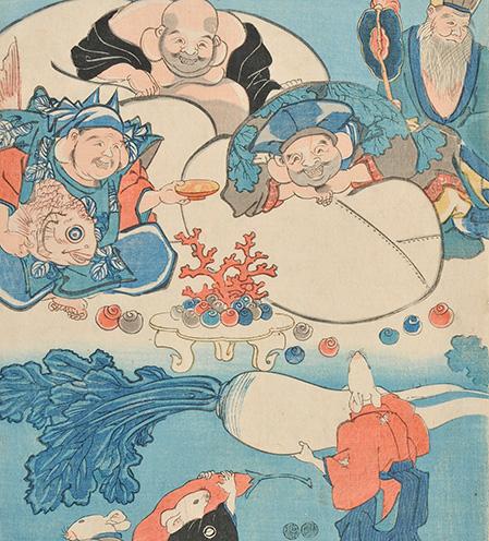 歌川国芳「七福神 宝の搬入」