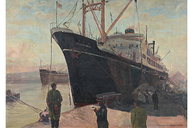森山一虎画「日満航路 -月山丸-」。新潟ー北朝鮮間を航行した大型貨客船の絵画が修復を終えてお目見え
