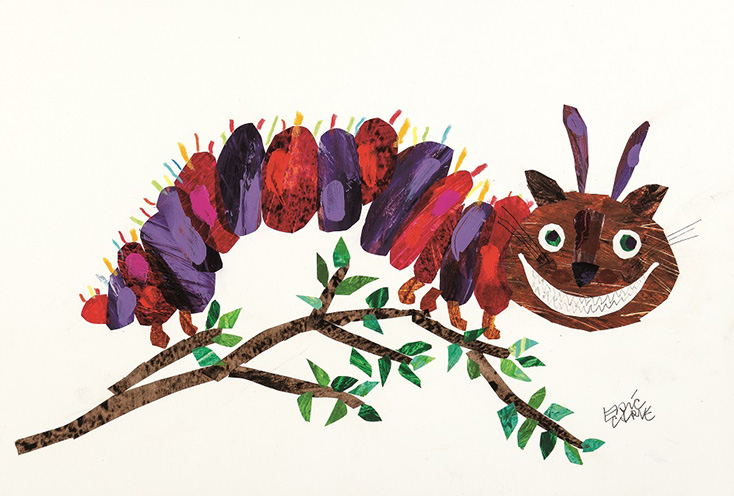 "エリック・カール《チェシャネコいもむし》 ""Cheshire CAT-erpillar"" created by Eric Carle, 2018.Image reproduced with permission from the Eric Carle Studio."