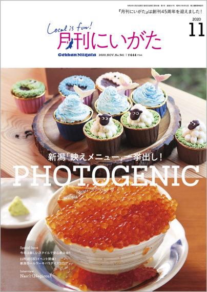 月刊にいがた2020年11月号表紙。写真は、三条市のTHE Ugly Ducklingのカップケーキと、新潟市の海鮮ろばた 壱勢 新潟店のイクラ丼です