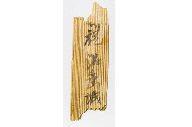 「沼垂城」と書いてある木簡(平成2年 八幡林遺跡から発掘)