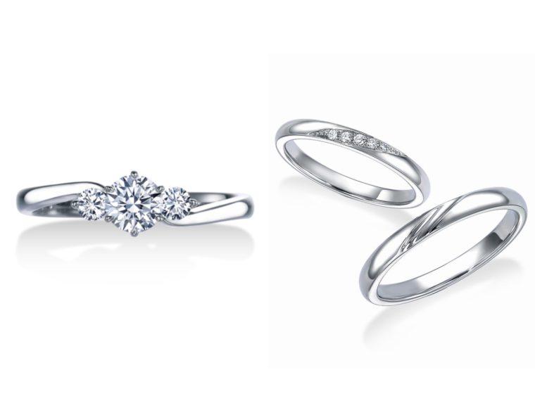 左が婚約指輪、右が結婚指輪です!