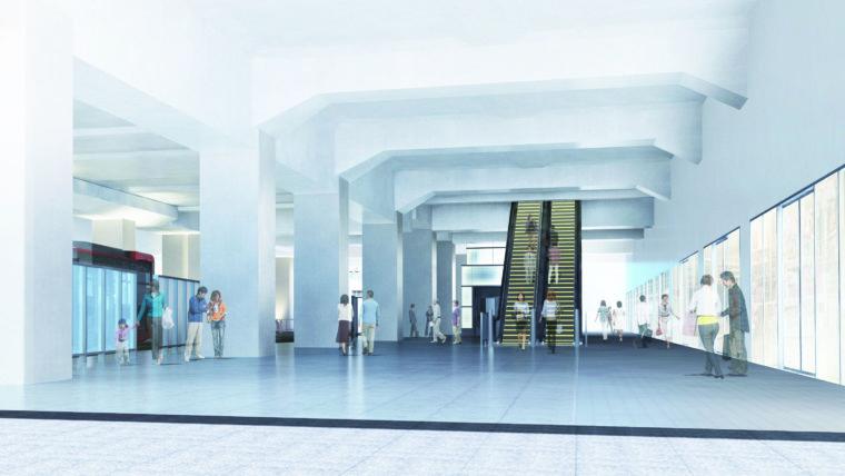 南口側から見た同バスターミナルの歩行空間イメージ