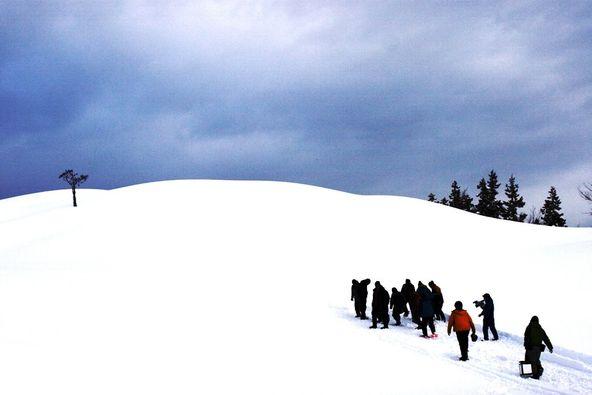 雪原のなかでの撮影風景