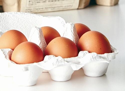 村上市「オークリッチ」自慢の卵。卵独特のにおいもなく、卵黄はコクがあり卵白が甘いのが特徴