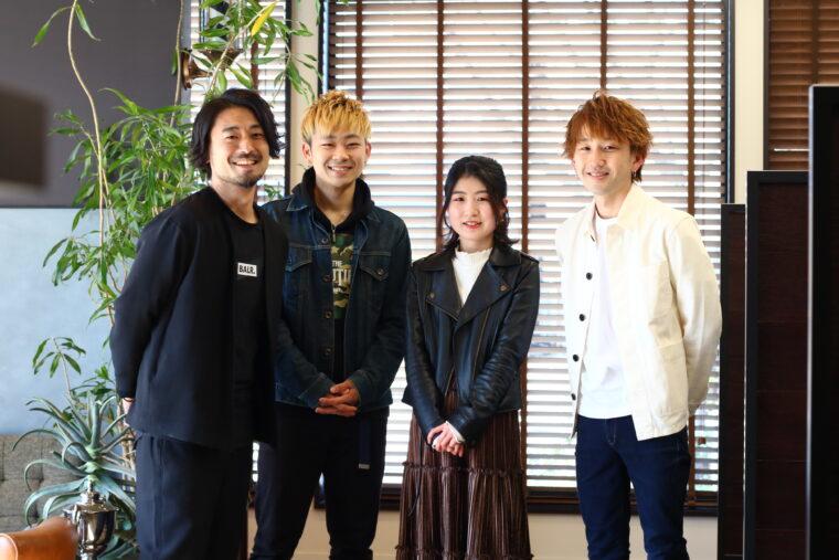 左から、近和也さん、平野樹さん、杉本あいかさん、在長欣輝さん、