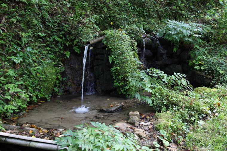 こんこんと湧く、清らかな湧き水。料理のほか、夏場には冷房にも使われる
