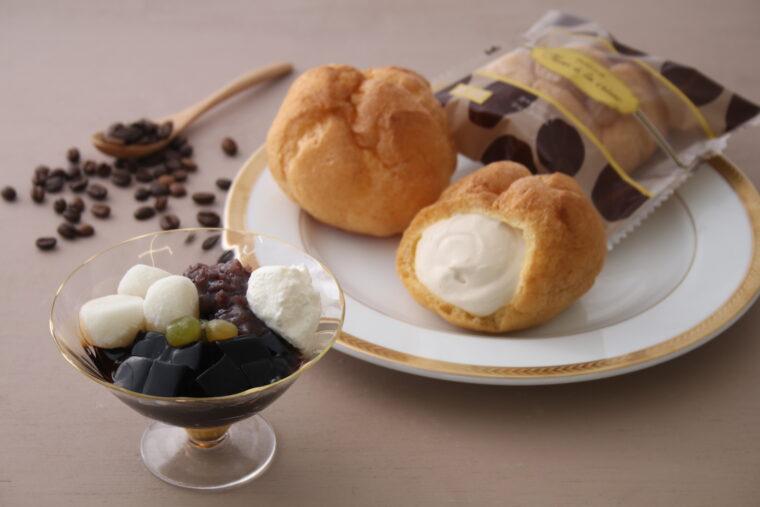 『コーヒー牛乳シュークリーム』と『コーヒー白玉』。大阪屋初夏のフェアのテーマは「コーヒー」です