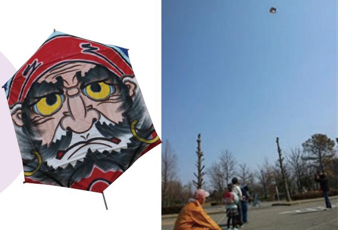 六角凧揚げ実演