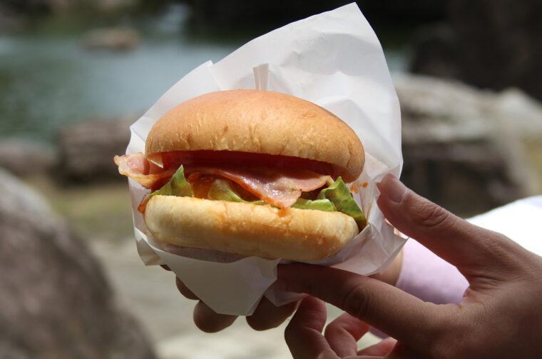 ブランド肉のパティにそのままでもおいしいバンズ、ボリューム満点な『阿賀バーガー』は土・日曜、祝日提供。かき氷もおいしかったー!
