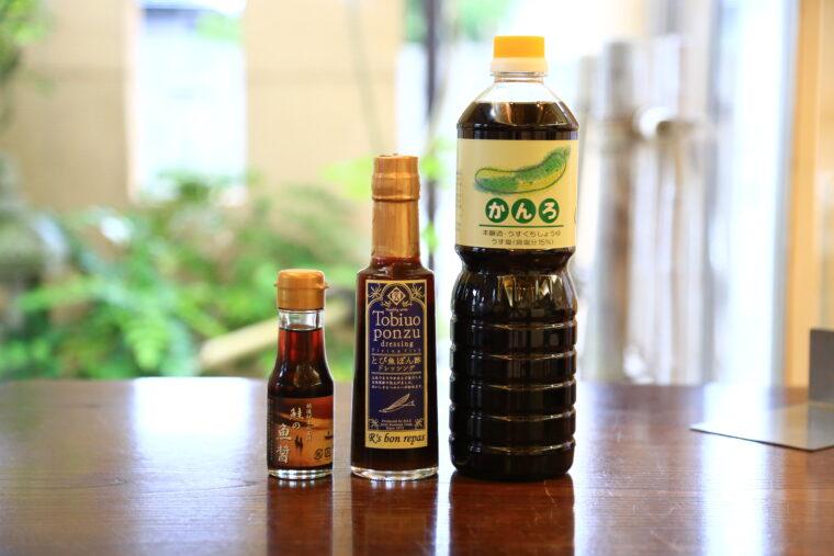左から『鮭の魚醤油』(298円)、『とび魚ポン酢』(648円)、『醤油かんろ』(486円)