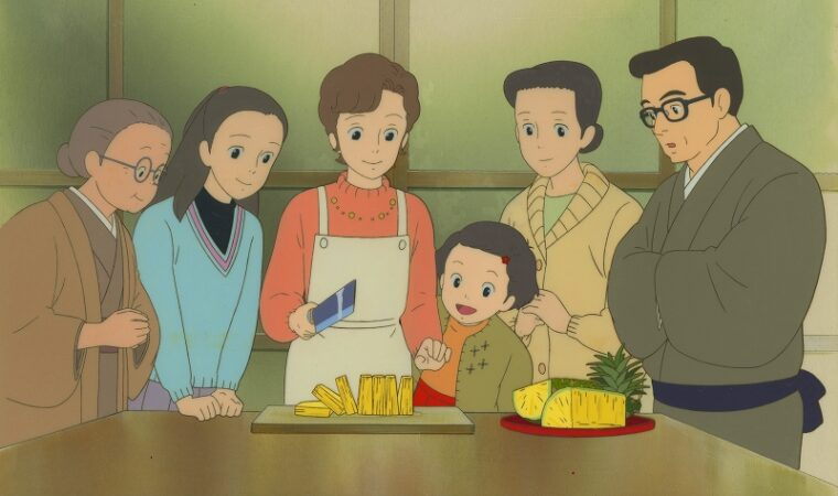 『おもひでぽろぽろ』セル付き背景画 © 1991 岡本蛍・ 刀根夕子・ Studio Ghibli・ NH 無断転載禁止